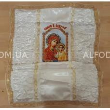 Покрывало атлас №19 кружево№1 з образом Богородица габардин(24см)
