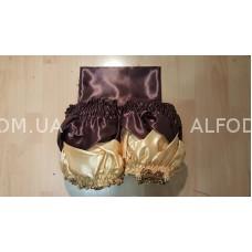 Оббивка атлас радуга косичка простая (коричневый + золото) 33см